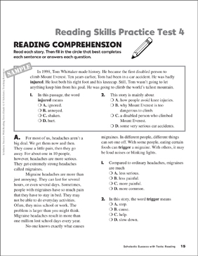Reading skills practice test 4 grade 4 printable test prep reading skills practice test 4 grade 4 fandeluxe Image collections