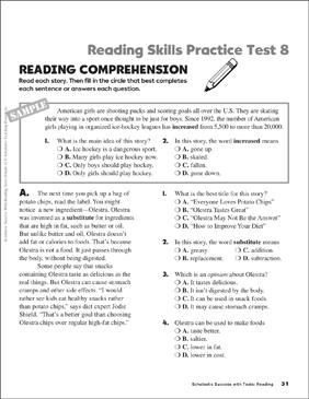Reading Comprehension Worksheet 8th Grade