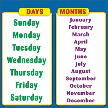 graphic regarding Printable Days of the Week Chart titled printable times of the 7 days chart -