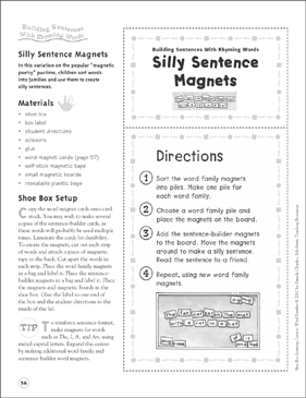 silly sentence magnets building sentences with rhyming words word