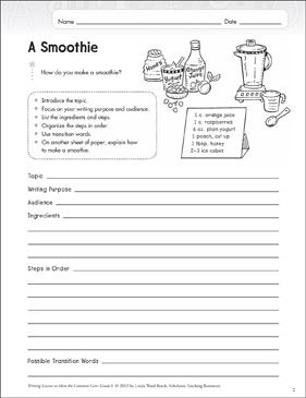 A Smoothie Grade 6 Explanatory Writing Lesson Printable