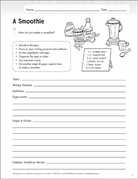 a smoothie grade 6 explanatory writing lesson printable. Black Bedroom Furniture Sets. Home Design Ideas