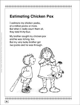Estimating Chicken Pox Math Poem Amp Activities Printable