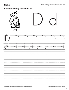 Letter d letter formation practice kindergarten basic skills letter d letter formation practice kindergarten basic skills spiritdancerdesigns Image collections