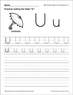 letter u letter formation practice kindergarten basic skills