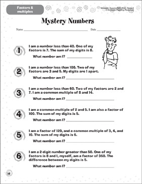 mystery numbers factors  multiples  printable skills sheets mystery numbers factors  multiples