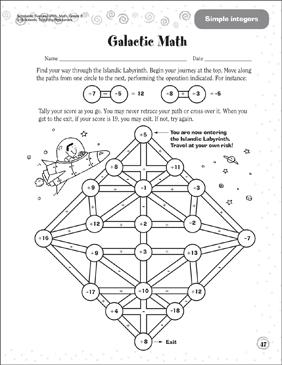 galactic math simple integers  printable mazes and skills sheets galactic math simple integers