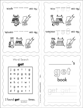 photograph relating to Sight Word Book Printable referred to as The Sight Term \u201cget\u201d (Position 2) Mini-Reserve Printable Mini-Textbooks