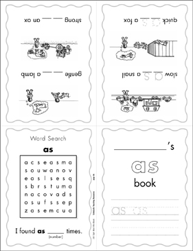 image relating to Sight Word Book Printable named The Sight Term \u201cas\u201d (Place 3) Mini-E-book Printable Mini-Textbooks