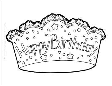 Happy Birthday Crown Reproducible Pattern Printable Clip Art And