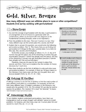 Gold Silver Bronze Permutations Printable Lesson Plans Ideas