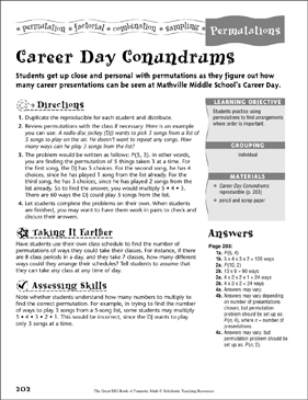 Career Day Conundrums Permutations Printable Number Puzzles