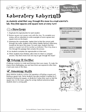 laboratory labyrinth squares square roots printable mazes