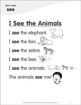 i see the animals poem for sight word see printable skills sheets. Black Bedroom Furniture Sets. Home Design Ideas