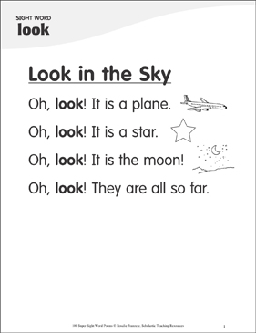 Look In The Sky Poem For Sight Word Look Printable