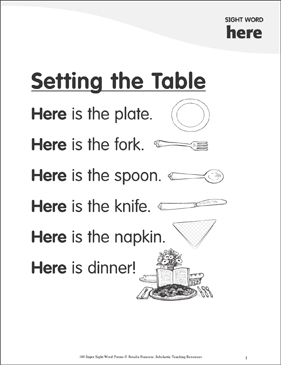 """Setting the Table: Poem for Sight Word """"here"""" 