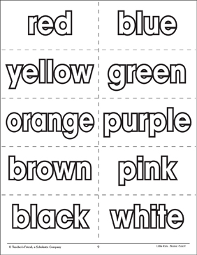 color words flash cards printable flash cards and coloring pages. Black Bedroom Furniture Sets. Home Design Ideas