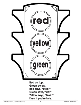 Traffic Light and Color Poem (Using Three Colors) | Printable ...