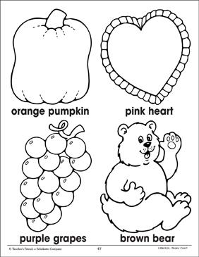 Orange Pink Purple Brown Coloring Corresponding Pictures