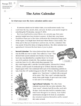 The Aztec Calendar Text Amp Questions Printable Texts And