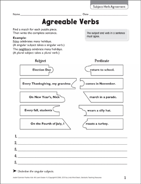 agreeable verbs subject verb agreement printable skills sheets