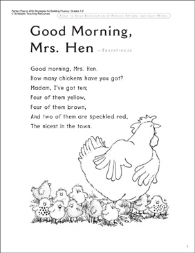 Good Morning Mrs Hen Fluency Building Read Aloud Poem