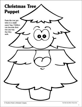 Christmas Tree: Paper Bag Puppet Pattern