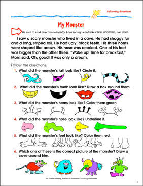 My Monster: Reading Passage and Activity - Following Directions ...