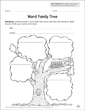 word family tree reading response organizer printable graphic