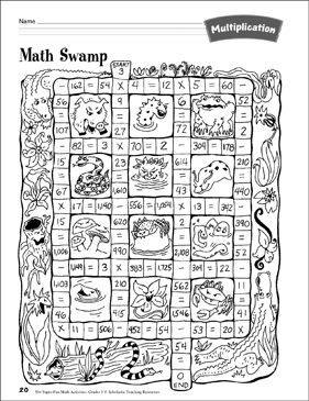 math swamp multiplication maze multiplication activity