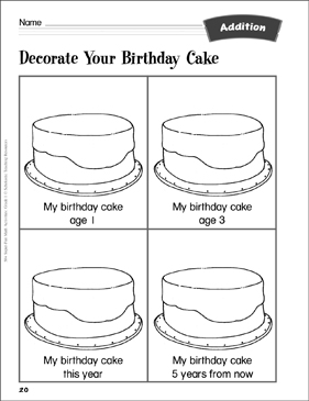 decorate your birthday cake counting and adding addition activity printable lesson plans. Black Bedroom Furniture Sets. Home Design Ideas