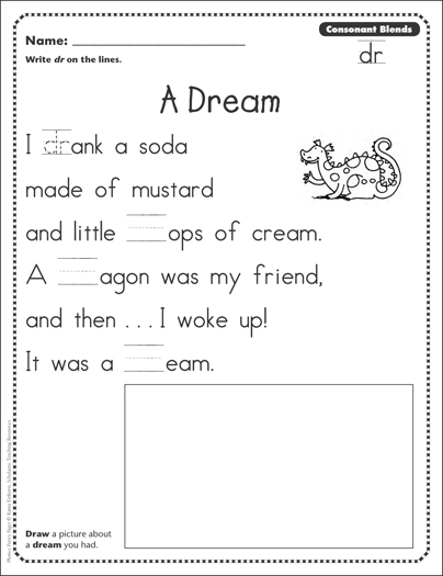 a dream consonant blends dr phonics poetry page printable skills sheets. Black Bedroom Furniture Sets. Home Design Ideas