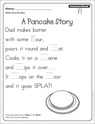 A Pancake Story Consonant Blends Fl Phonics Poetry