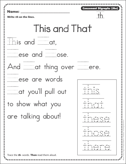 this and that consonant digraphs th phonics poetry page printable skills sheets. Black Bedroom Furniture Sets. Home Design Ideas