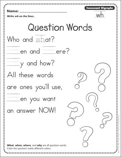 question words consonant digraphs wh phonics poetry page printable skills sheets. Black Bedroom Furniture Sets. Home Design Ideas