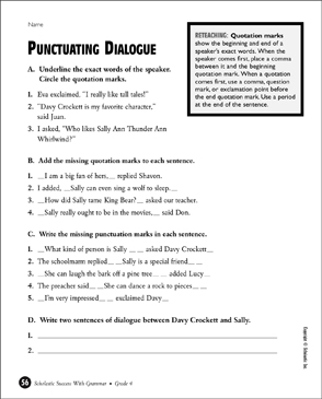 punctuating dialogue printable test prep tests and skills sheets. Black Bedroom Furniture Sets. Home Design Ideas