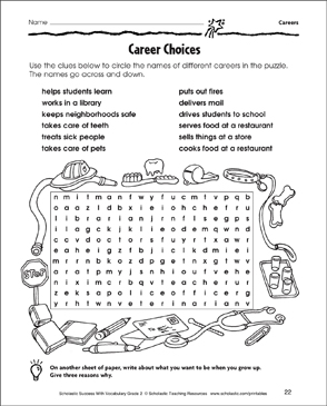 Career Choices Word Search Printable Skills Sheets And
