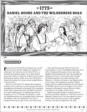 Tall Tales: Daniel Boone | Worksheet | Education.com