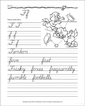 letter ff cursive writing practice printable skills sheets