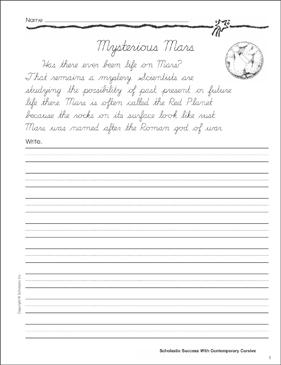 mysterious mars cursive writing practice