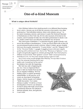 One-of-a-Kind Museum: Text & Questions | Printable Texts and Skills ...