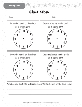 clock work telling time estimating time printable skills sheets