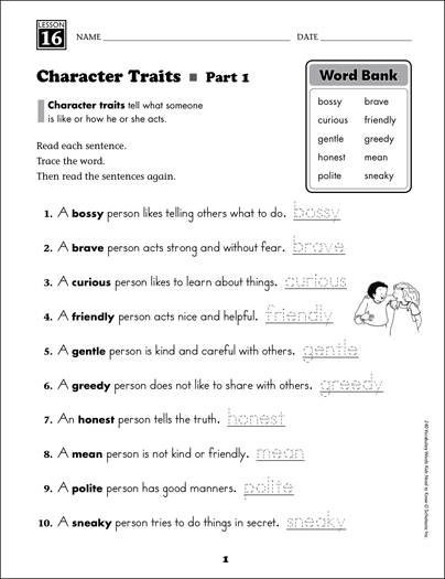 Character Traits Content Words Grade 2 Vocabulary
