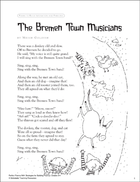 the bremen town musicians printable texts lesson plans and ideas. Black Bedroom Furniture Sets. Home Design Ideas