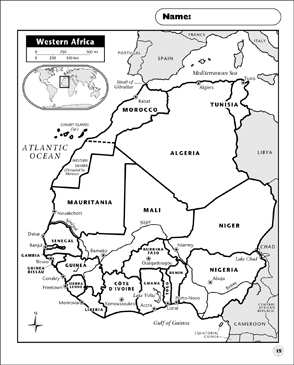 image relating to Printable Africa Map identified as Western Africa Map Printable Maps and Expertise Sheets