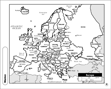 Political Map - Europe | Printable Maps and Skills Sheets