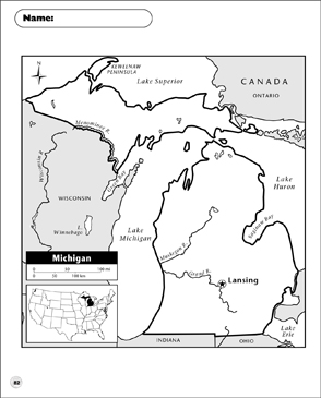 photograph about Printable Map of Michigan identified as Michigan Map Printable Maps and Abilities Sheets