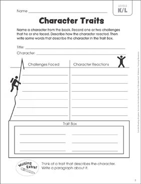 character traits leveled reading k l guided reading response