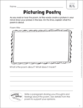 picturing poetry leveled reading k l guided reading response