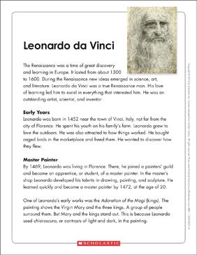 Compare And Contrast Essay Topics For High School  Sample Argumentative Essay High School also College Transfer Essay Leonardo Da Vinci Text  Organizer  Printable Graphic  Essay On Business Ethics